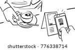drawn hand with mobile phone... | Shutterstock .eps vector #776338714