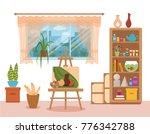 art studio interior colorful... | Shutterstock .eps vector #776342788