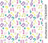 seamless pattern with music... | Shutterstock .eps vector #776343409
