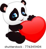 cute funny baby panda  and red... | Shutterstock .eps vector #776345404
