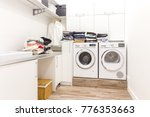 stacks of clean clothes in... | Shutterstock . vector #776353663