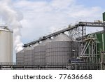 petrochemical  oil refinery - stock photo
