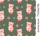 Seamless Pattern Pink Pig On A...