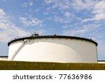 oil  tanks at oil refinery - stock photo