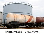oil train cars with oil depot - stock photo
