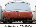 oil train and oil storage tank - stock photo