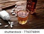 composition with alcohol and... | Shutterstock . vector #776376844