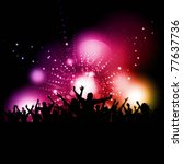 silhouette of a party crowd on... | Shutterstock .eps vector #77637736