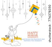 Stock vector illustration of happy makar sankranti wallpaper with colorful kite string for festival of india 776378350