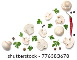 mushrooms with parsley isolated ... | Shutterstock . vector #776383678
