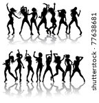 Silhouettes of sexy beautiful women dancing with silhouettes - stock photo