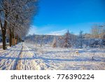 alley in cold sunny winter day. | Shutterstock . vector #776390224