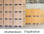 cardboard boxes are stacked on... | Shutterstock . vector #776391919