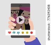rate the video. hand holding a... | Shutterstock .eps vector #776392408