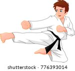 cute karate boy | Shutterstock . vector #776393014