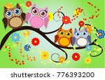 bright cute cartoon owls sit on ...   Shutterstock .eps vector #776393200