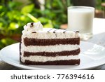 sliced chocolate cake on white... | Shutterstock . vector #776394616