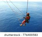offshore worker  using rope... | Shutterstock . vector #776400583