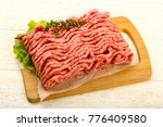 Raw Minced Beef Meat With Thym...