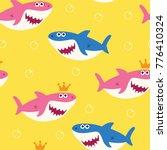 baby shark seamless pattern... | Shutterstock .eps vector #776410324