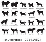Stock vector vector set of different breeds dogs silhouettes isolated in black color on white background part 776414824