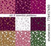 vector set of 9 seamless... | Shutterstock .eps vector #776417650