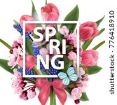 spring background with blooming ... | Shutterstock .eps vector #776418910