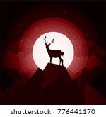 deer silhouette standing on a... | Shutterstock .eps vector #776441170