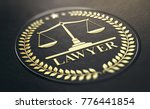 lawyer symbol  golden stamp... | Shutterstock . vector #776441854