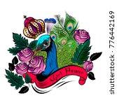 girl power slogan red roses and ...   Shutterstock .eps vector #776442169