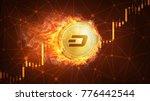golden ethereum coin in fire... | Shutterstock . vector #776442544