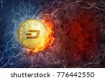 golden ethereum coin in fire... | Shutterstock . vector #776442550