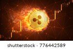 golden ripple coin in fire with ... | Shutterstock . vector #776442589