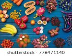 flat lay of fresh  fruits and... | Shutterstock . vector #776471140