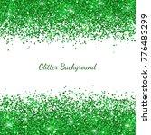 Green Glitter On White...