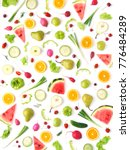pattern of vegetables and... | Shutterstock . vector #776484289