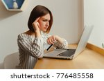 head pain of young freelance... | Shutterstock . vector #776485558