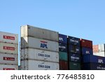 Small photo of HAMBURG, GERMANY - OCTOBER 1, 2017: Shipping containers stacked at the Port of Hamburg
