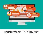 desktop pc with rating app.... | Shutterstock .eps vector #776487709
