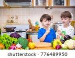 healthy eating. happy children... | Shutterstock . vector #776489950