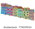 row of old houses on a steep... | Shutterstock .eps vector #776529514