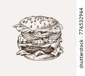 burger sketch. junk food vector ... | Shutterstock .eps vector #776532964