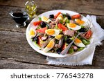 french salad nicoise with tuna  ... | Shutterstock . vector #776543278