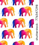 Seamless Watercolor Elephants...