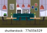 Stock vector interior cafe background image vector illustration 776556529