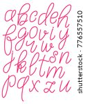 lowercase red hand drawn... | Shutterstock .eps vector #776557510