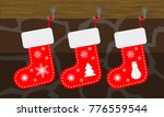 christmas socks  red color ... | Shutterstock .eps vector #776559544