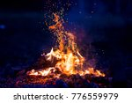 Burning Wood At Night. Campfir...