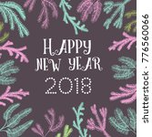 post card with hand drawn new... | Shutterstock .eps vector #776560066