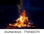burning wood at night. campfire ... | Shutterstock . vector #776560174
